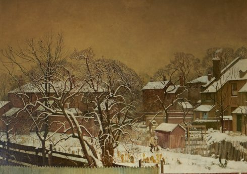 Harry Bush (1883-1957), Snowfall in the Suburbs - A View from the Artist's House, 1940. Image courtesy of Liss Llewellyn.