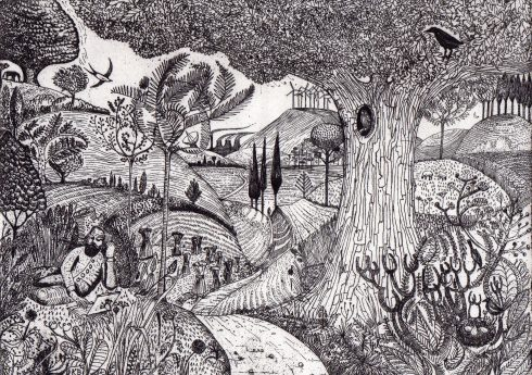 Man on Laptop After Samuel Palmer by Kit Boyd